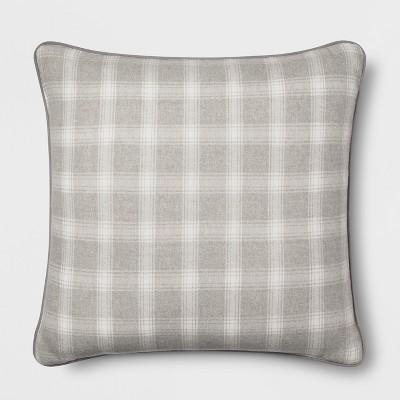 Plaid Oversize Square Throw Pillow Gray - Threshold™