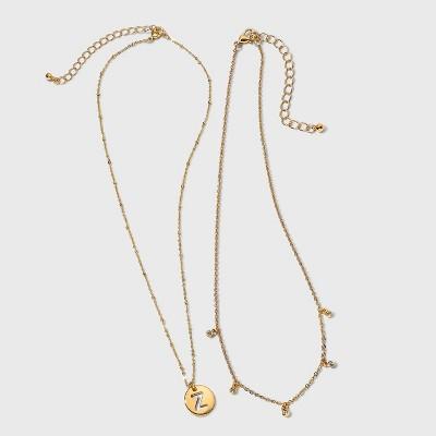 Girls' 2pk Initial Necklace - art class™ Gold