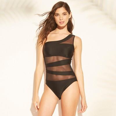 c46b21c9e8bf01 Women s One Shoulder Mesh Inset One Piece Swimsuit - Shade   Shore™ Black