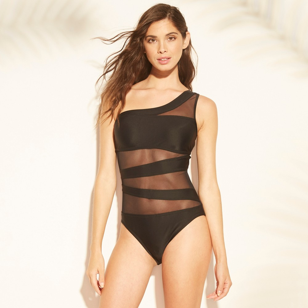 Women's One Shoulder Mesh Inset One Piece Swimsuit - Shade & Shore Black S