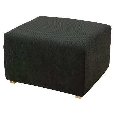 Black Stretch Pique Slipcover Ottoman - Sure Fit