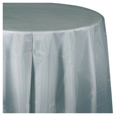 Shimmering Silver Round Plastic Tablecloth