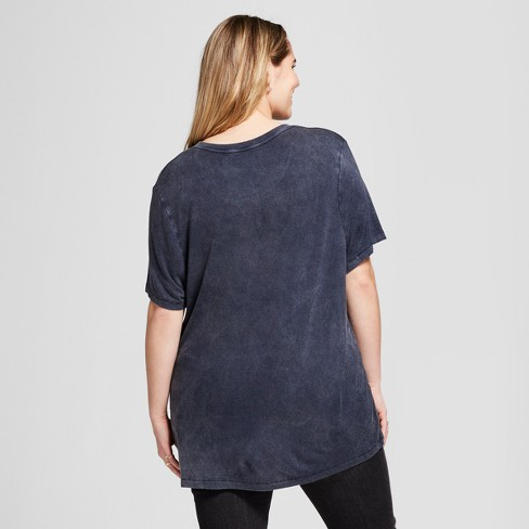 5c6cffac37d1 Women's Plus Size American Flag Mineral Washed Short Sleeve Graphic T-Shirt  - Zoe+Liv Navy Blue 1X : Target