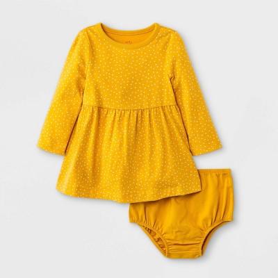 Baby Girls' Dot Long Sleeve Dress - Cat & Jack™ Amber Yellow 18M