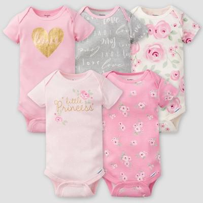 Gerber Baby Girls' 5pk Floral Short Sleeve Onesies - Pink/Off-White/Gray 3-6M