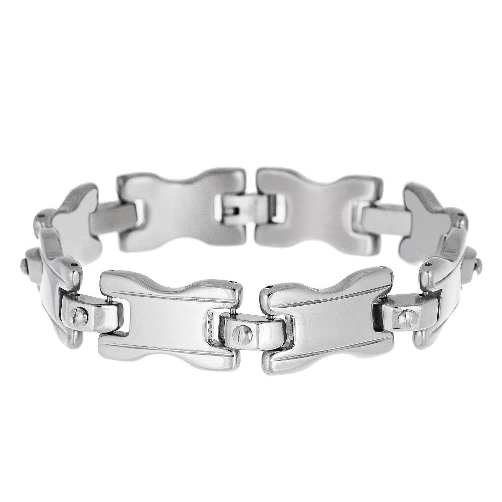 Image of Men's Silver-Tone Stainless Steel Screw Bracelet, Silver
