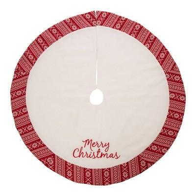 "48"" Merry Christmas Fleece Christmas Tree Skirt White - Glitzhome"