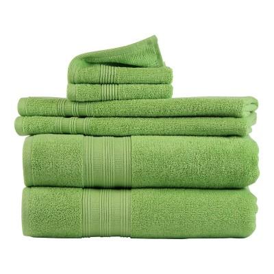 6pk Solid Bath Towel Green - Freshee