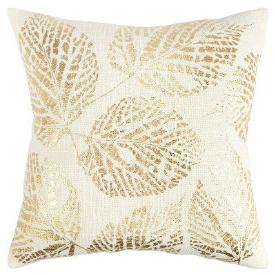 """20""""x20"""" Oversize Poly Filled Leaves Square Throw Pillow Gold - Rizzy Home"""
