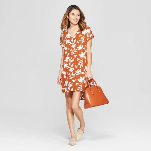Women's Floral Print Short Sleeve V-Neck Crepe Dress - A New Day™ Rust - image 1 of 10