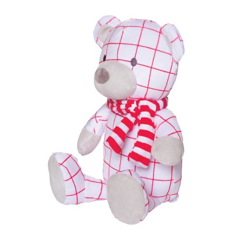 Manhattan Toy Holiday Pattern Plush Bear - White and Red - image 1 of 2