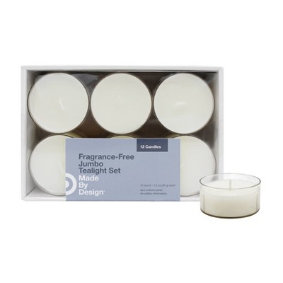 """2.1"""" x 1"""" 12pk Unscented Tealight Candle Set - Made By Design™"""
