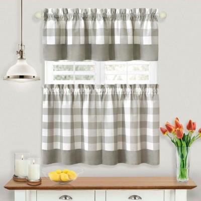Kate Aurora Modern Country Farmhouse 3 Piece Plaid Checkered Cafe Kitchen Curtain Tier & Valance Set