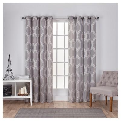 Montrose Ogee Geometric Textured Linen Jacquard Grommet Top Window Curtain Panel Pair - Exclusive Home™