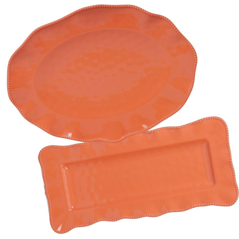 Image of 2pc Melamine Perlette Serving Set Coral - Certified International, Pink