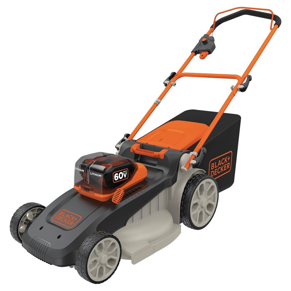 Image of Black+decker 60V Max Lithium 64.25H 3-in-1 Lawn Mower - Black/Orange