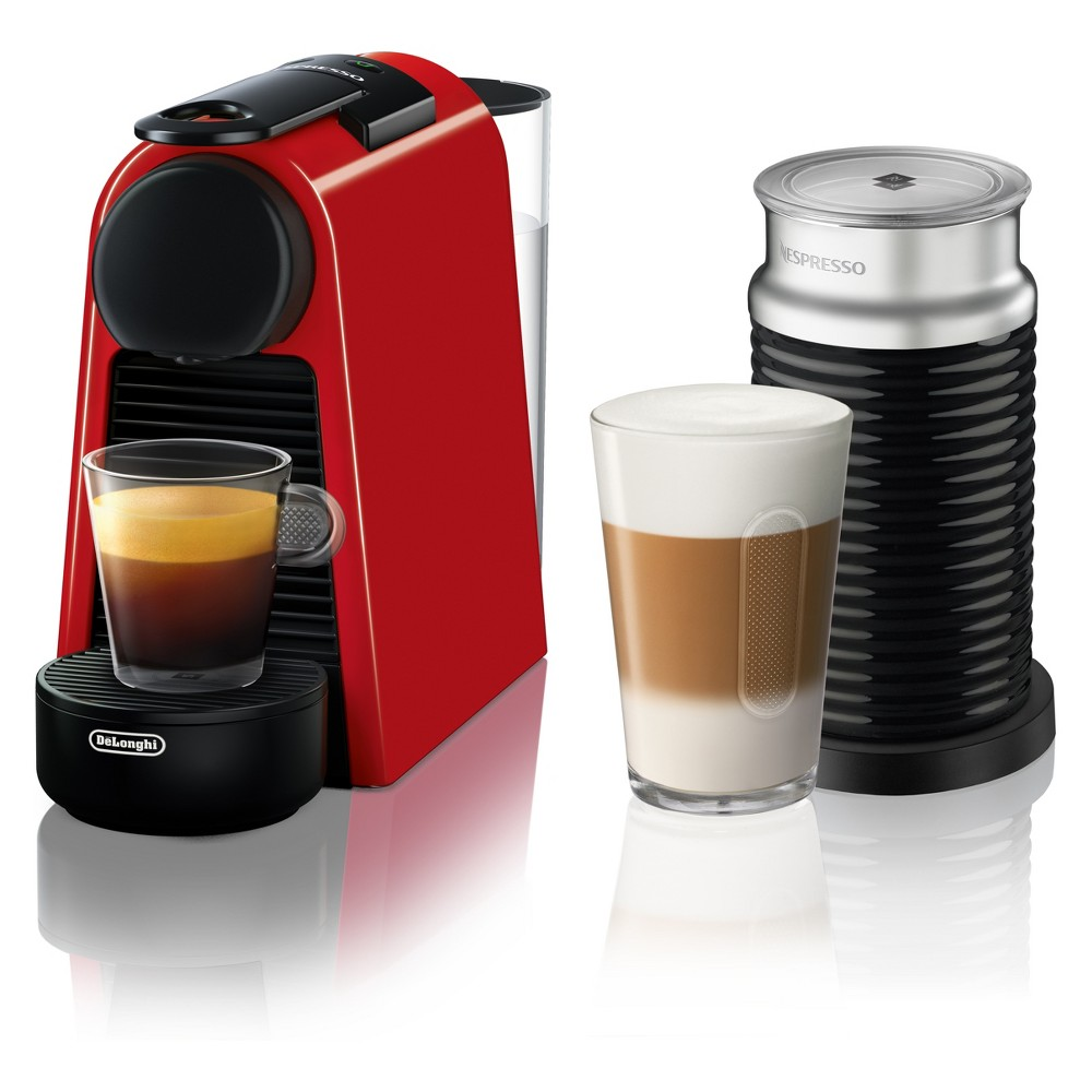 Image of Nespresso Essenza Mini Espresso Machine with Aeroccino Red by De'Longhi