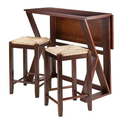3pc Harrington Counter Height Drop Leaf Dining Table Set with Rush Seat Stool Wood/Brown - Winsome