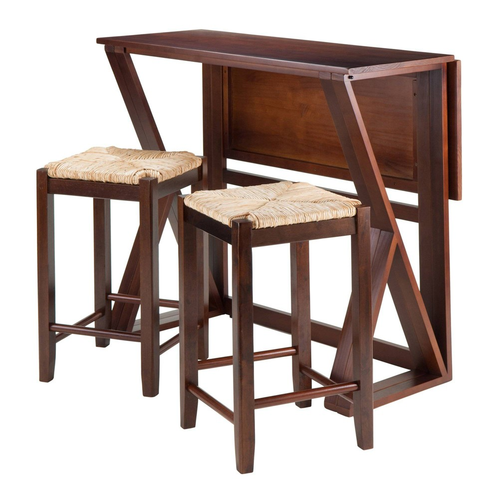 3 Piece Harrington Drop Leaf High Table with Rush Seat Stool Wood/Brown - Winsome
