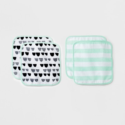 Baby Plush 4pk Washcloth Set Cloud Island™ - Mint/Black/White