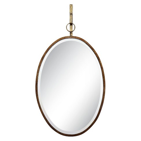 """16"""" x 26"""" Oval Metal Framed Wall Mirror with Bracket Distressed Gold Finish - 3R Studios - image 1 of 4"""
