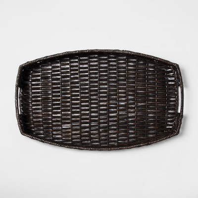 Wicker Serving Tray 22  x 13.5  Brown - Threshold™
