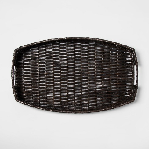 "Wicker Serving Tray 22"" x 13.5"" Brown - Threshold™ - image 1 of 4"