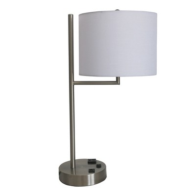 Fangio Lighting Tech Friendly Metal Table Lamps with 1 Outlet And 1 USB Port Silver