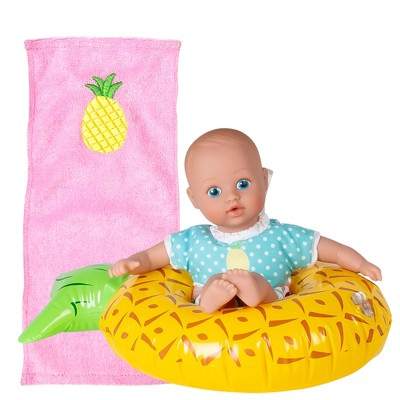 Adora Water Baby Doll, SplashTime Baby Tot Sweet Pineapple. 3 Piece Set, 8.5 inch Doll for Bathtub/Shower/Swimming Pool Time Play