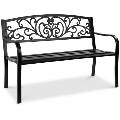 Best Choice Products 50in Steel Garden Bench for Outdoor	Porch	Patio Furniture Chair w/ Floral Design Backrest