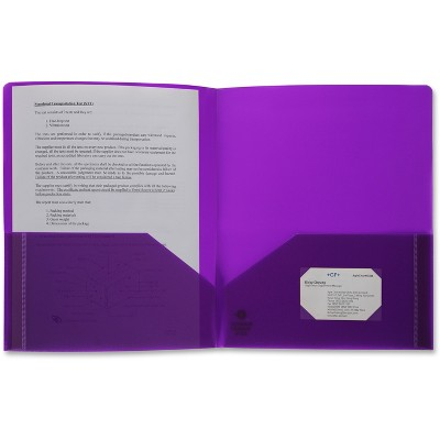 Business Source Poly Portfolio 2 Pocket LTR .3mil Purple 20879