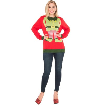 Rubies Red Elf Sweater Adult Costume