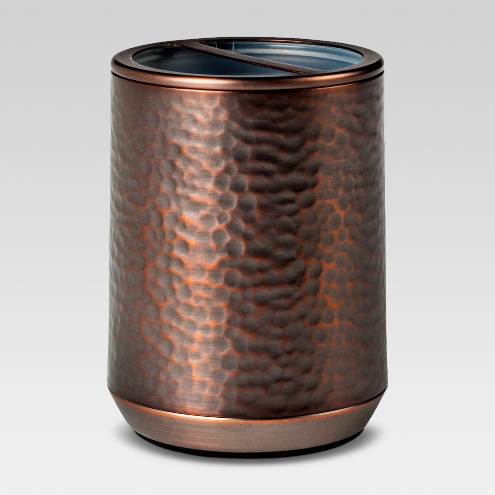 Image of Toothbrush Holder Hammered Copper - Threshold , Brown