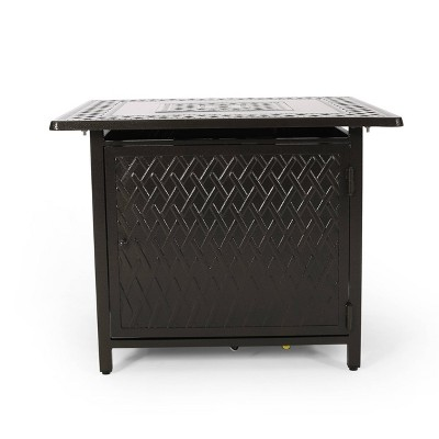 """Amherst Square 32.25"""" Aluminum Gas Fire Pit - Hammered Bronze - Christopher Knight Home"""
