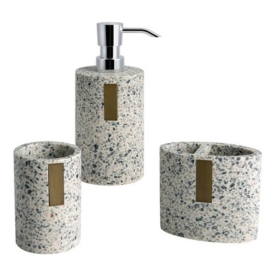 3pc Lerrazzo Lotion Pump/Toothbrush Holder/Tumbler Set Gray/Natural - Allure Home Creations