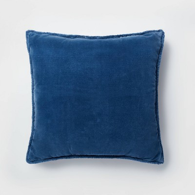 Oversized Square Washed Velvet Pillow with Fringe Blue - Threshold™