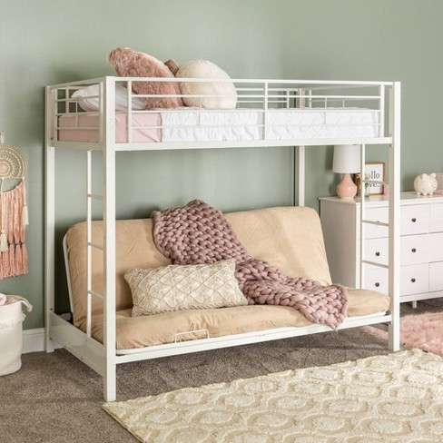 Premium Metal Twin Over Futon Bunk Bed White Saracina Home