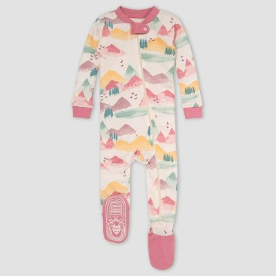 Burt's Bees Baby® Baby Girls' Mountains Snug Fit Footed Pajama - Heather Gray