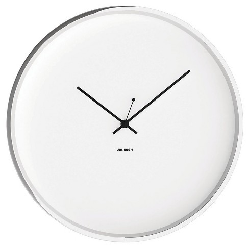 "Chrome 12"" Round Wall Clock White/Silver - JONSSON Timeware® - image 1 of 2"