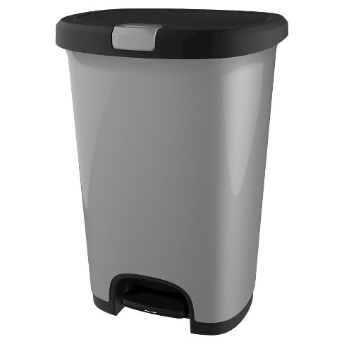 Hefty 12.7 Gallon Step On Lid Lock Trash Can - Silver - image 1 of 5