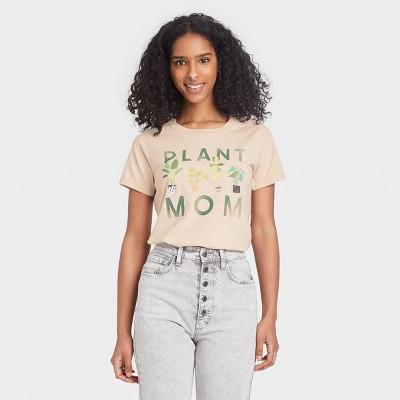 Women's Plant Mom Short Sleeve Graphic T-Shirt - Beige
