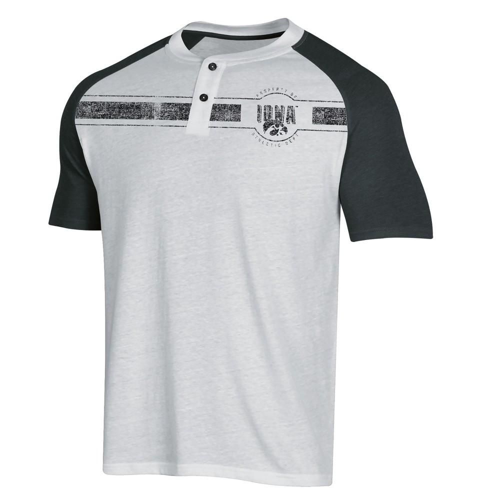 NCAA Men's Raglan Henley T-Shirt Iowa Hawkeyes - L, Multicolored