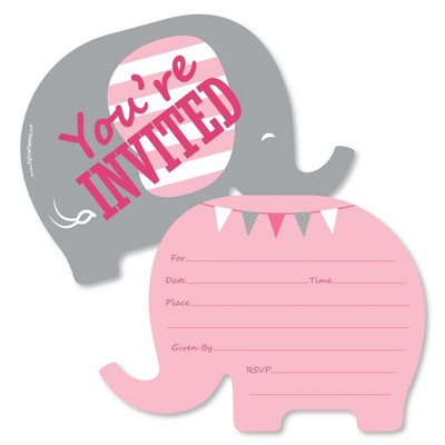 Big Dot of Happiness Pink Elephant - Shaped Fill-in Invitations - Girl Baby Shower or Birthday Party Invitation Cards with Envelopes - Set of 12