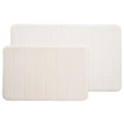 2pc Memory Foam Striped Bath Mat Set White - Yorkshire Home