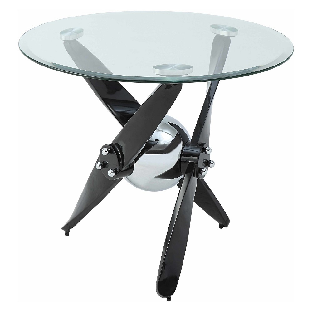 Acme Furniture Hagelin End Table Clear Glass Black/Chrome