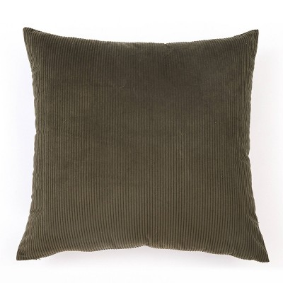 """18""""x18"""" Solid Ribbed Textured Throw Pillow Olive - Freshmint"""