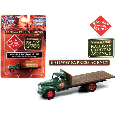 """1941-1946 Chevrolet Flatbed Truck Green & Crates & Building Signs """"Railway Express Agency"""" 1/87 (HO) Models Classic Metal Works"""