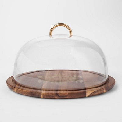 Round Acacia/Plastic 2pc Dessert Stand 12.6  x 7.3  Brown - Threshold™