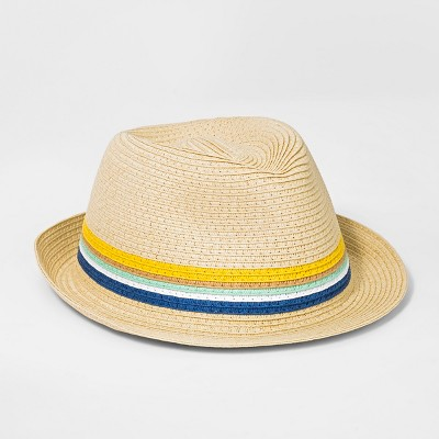 Boys' Striped Fedora - Cat & Jack™ Natural One Size