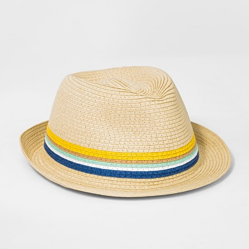 Boys' Striped Fedora - Cat & Jack™ Natural One Size - image 1 of 1